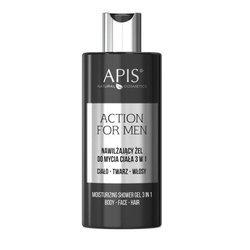 APIS Action For Men nawilżający żel do mycia ciała 3 w 1